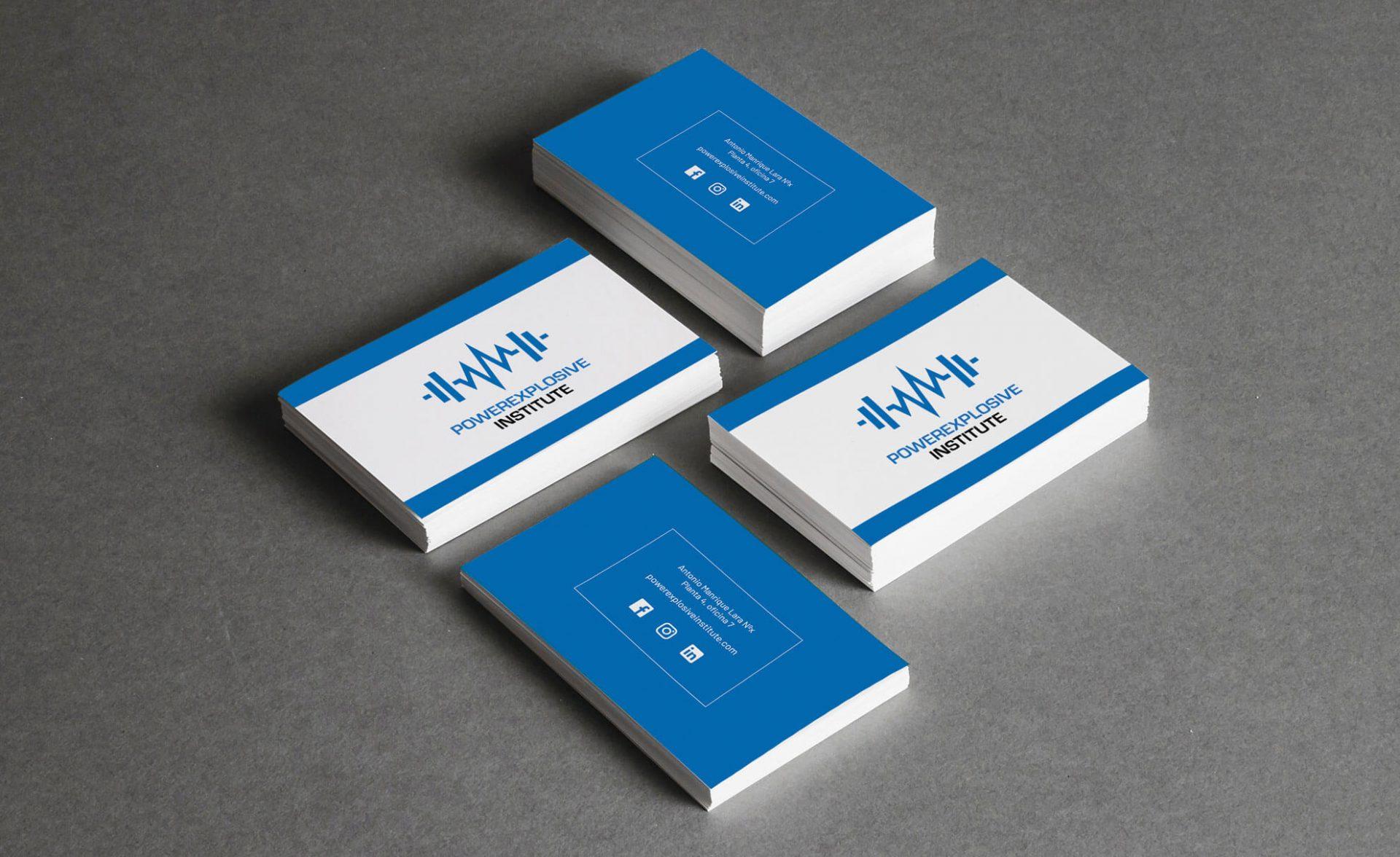 Merchandising tarjetas corporativas portfolio diseño powerexplosive institute